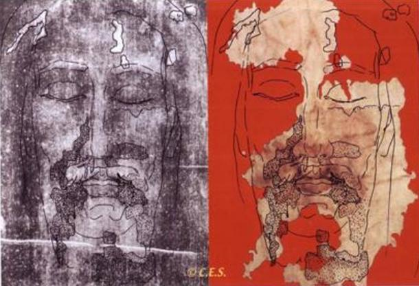 Perfect fit of Sudarium of Oviedo (right) to the face on the Shroud of Turin (left)
