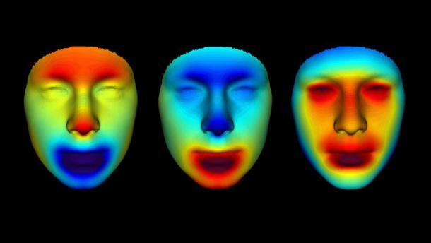 Heat maps of the different faces enabled scientists to refine details and highlight differences in the mummies' features. (Parabon NanoLabs)