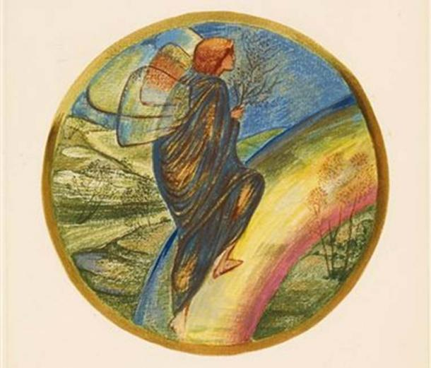 A page from the facsimile edition of Burne-Jones' Flower Book, one of 38 watercolor designs reproduced by Henri Piazza et Cie, for the Fine Art Society, London in 1905.
