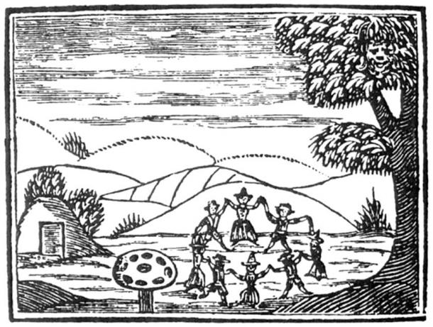 17th-century English woodcut showing faeries dancing in a ring, with hollow hill, amanita muscaria mushroom and 'spirit face' in the tree.