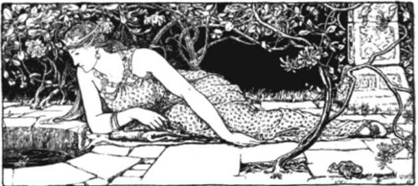 Looking to talk with the magic trout. 1892 illustration from the fairy tale Gold-Tree and Silver-Tree by John D. Batten.