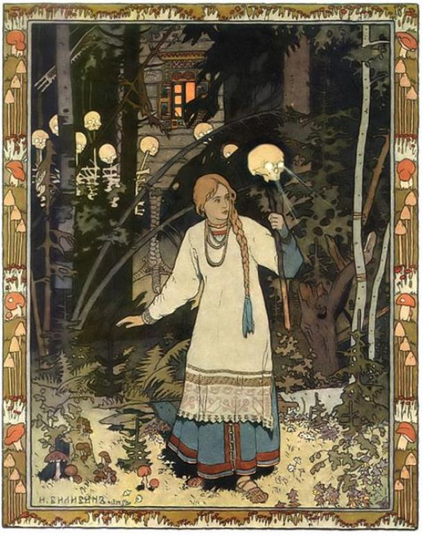The fairy tale character Vasilisa has one of the skulls with light. By Ivan Bilibin.