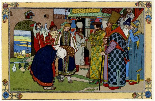The fairy tale ends happily, with the elderly woman and Vasilisa moving into the palace.