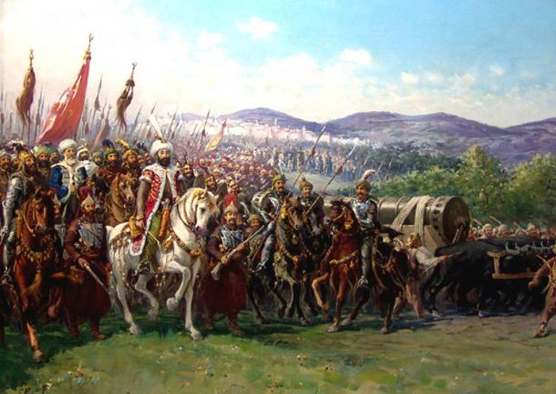 The fall of Constantinople in 1204. Painting of Mehmed II and the Ottoman Army approaching Constantinople with a giant bombard, by Fausto Zonaro.