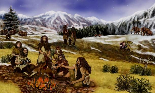 Were prehistoric peoples without religious morality because they struggled to survive in harsh conditions on few resources? A family of Neanderthals in Eurasia, during the Pleistocene epoch
