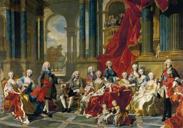 The family of Philip V, the House of Bourbon, the new rulers of the Spanish Empire. (Tm / Public Domain)