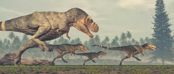 Una familia de dinosaurios Tyrannosaurus rex en fuga. (Orlando Florin Rosu/ Adobe Stock)