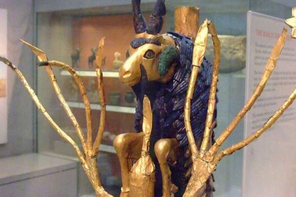 The famous Ram in the Thicket found in the Great Death Pit at Ur. Gold, silver, lapis lazuli shell. 2600 BC. (CC BY NC SA 2.0)