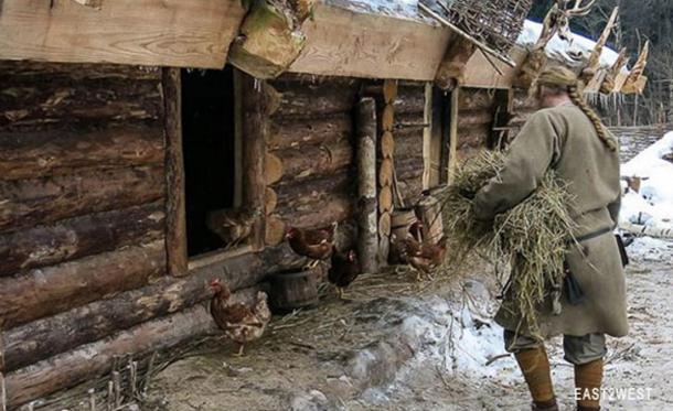 Sapozhnikov tends to his farm house.