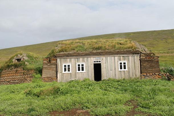 Front side of old farmhouse at Tyrfingsstaðir, Skagafjörður, Northern Iceland.
