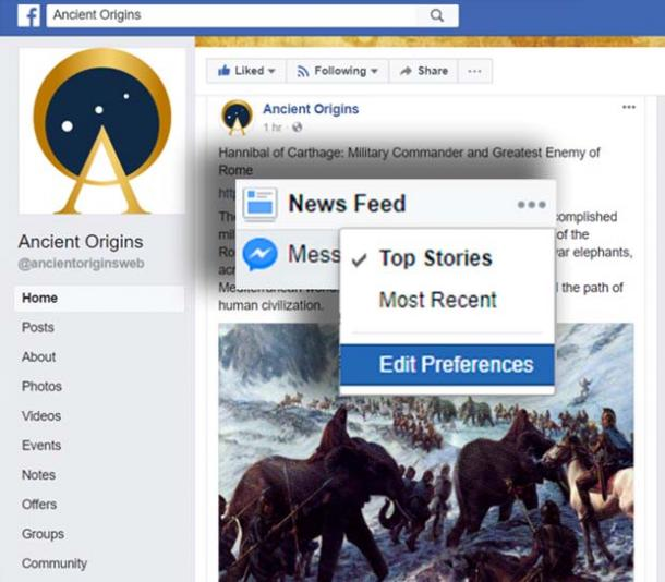 Like Ancient Origins on Facebook and Prioritize News in Preferences.