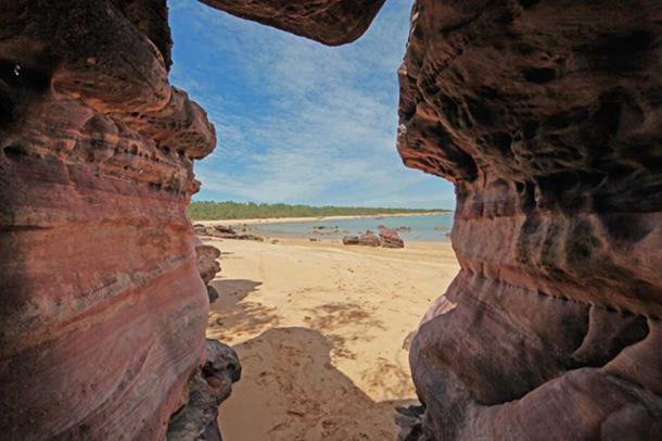 View through sacred rocks beyond Dhambala Homeland center, Elcho island.