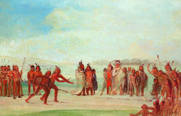 George Catlin, Tchung-kee, a Mandan Game Played with a Ring and Pole