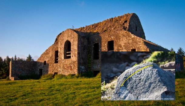Hell Fire Club, Dublin (CC by SA 3.0 / Joe King). Inset: The newly discovered megalithic stone with symbol.