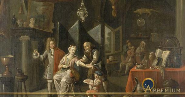 A surgeon letting blood from a woman's arm, and a physician by a Flemish painter (18th century) (Wellcome Images / CC BY-SA 4.0)