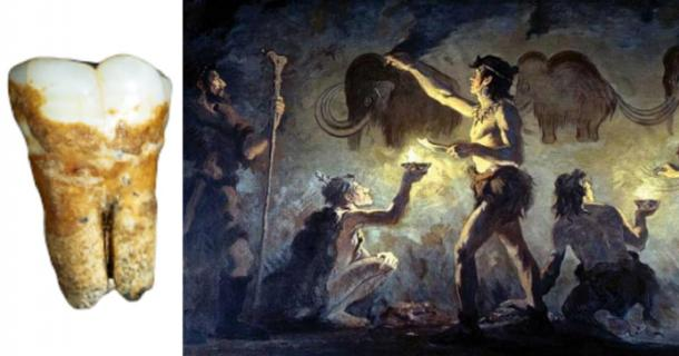 An Aurignacian tooth found in the Manot Cave, Israel. (Tel Aviv University) Cro-Magnon artists painting in Font-de-Gaume by Charles Robert Knight. (Public Domain)