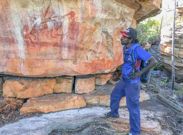 Young Dakal clan landowner Desmond Lindsay visits a Wilton River Australian rock art site for the first time. Most sites are remote and often impossible to approach in a vehicle. Source: Mimal Land Management Aboriginal Corporation (MLMAC) / Flinders University By
