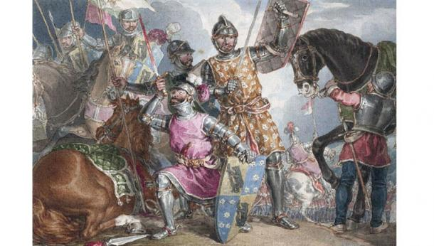 Three key players in the Battle of Towton, the Earl of Warwick, Edward IV and Richard III are depicted in a painting by John Augustus Atkinson (1775-18833).