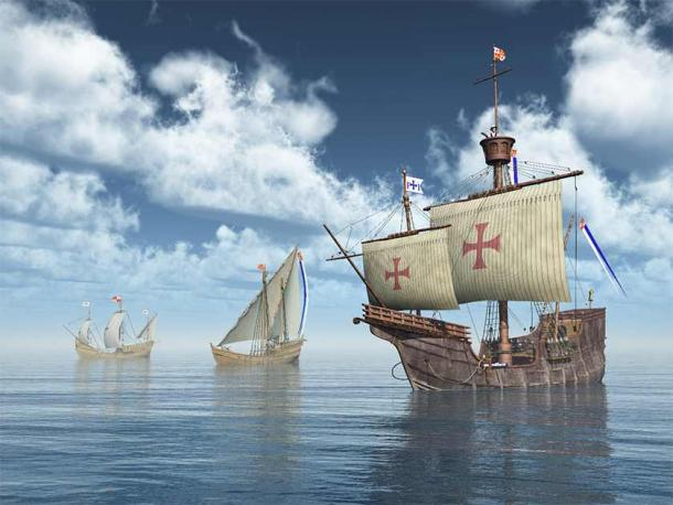 Was the fleet of Santa Maria, Pinta and Niña represented here admiral led by Christopher Columbus or Don Cristóbal Colón?