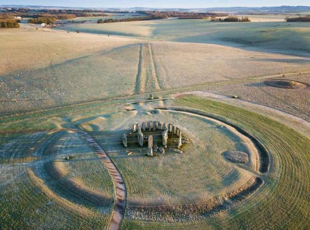 Stonehenge and surrounding earthworks.