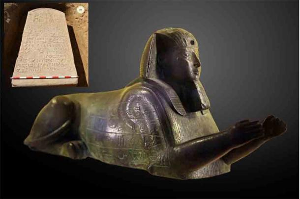 The Sphinx of Apries, dated to between 589 and 570 BC. Like the Egyptian stele found in the farmer's field, this sphinx is dedicated to the pharaoh Apries of the 26th dynasty of Egypt. Inset, stele of Apries in situ at find site.