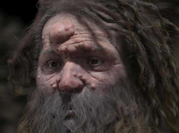 The reconstructed face of Cro-Magnon man.