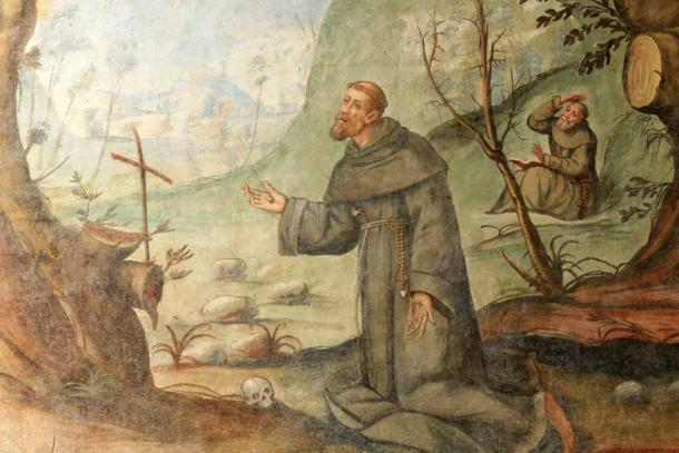Saint Francis of Assisi, the founder of the Franciscan friars order, as depicted in the Madonna del Sasso Sanctuary in Locarno, Switzerland.