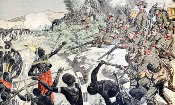 German soldiers shooting Herero people in 1904