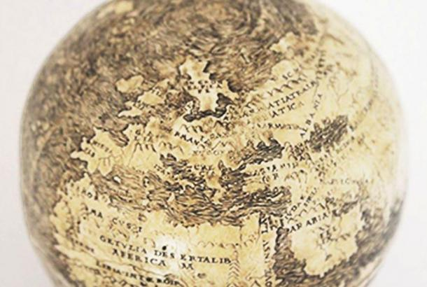 A globe from 1504 that may be the world's oldest depicting the New World is engraved on ostrich egg halves in this photo from the Washington Map Society