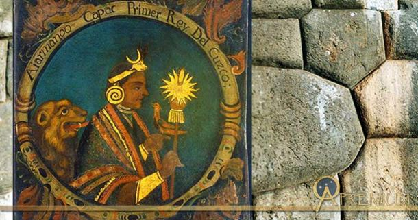 Deriv; Inset – Cusco founder Manco Capac, First Inca, 1 of 14 Portraits of Inca Kings (Public Domain), and the incredible stone masonry of the walls of Sacsayhuamán, Cusco, Peru. (CC BY-SA 3.0)