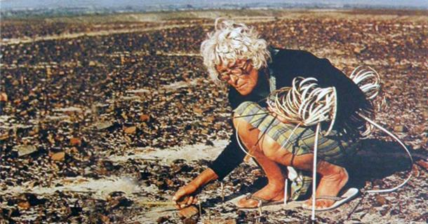 Maria Reiche measuring the Nazca Lines.