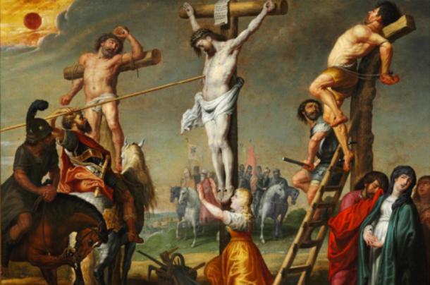 Longinus piercing Christ's side with the Holy Lance    Source: Gerrit De La Vallé / Public domain