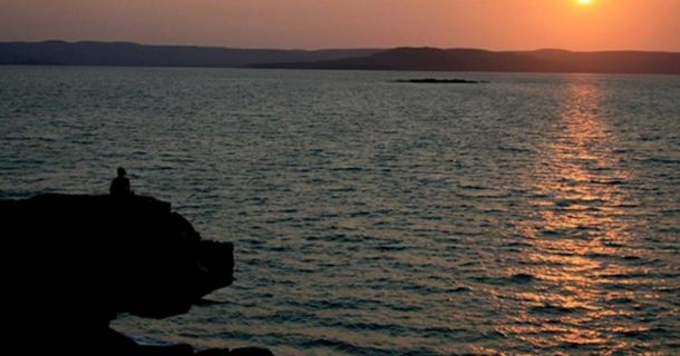 Sunset looking across Port Warrender to the Mitchell Plateau on the Kimberley coast. It is in Wunambal Gaambera country