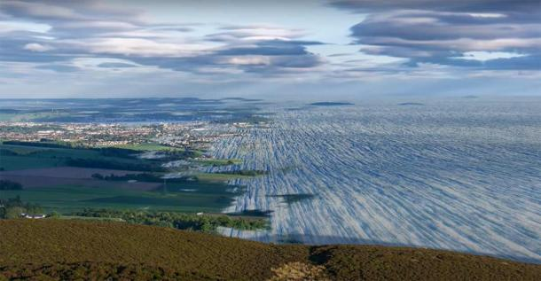 Representation of how the ice would have covered the landscape of Dundee as it would have been during last Ice Age in Scotland.       Source: YouTube Screenshot