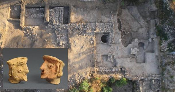 Main: The Tel Motza Iron Age temple excavation site in Jerusalem.    Source: Skyview / Israel Antiquities Authority.     Inset: Ancient figurines of people found at Tel Motza.        Source: Clara Amit / Israel Antiquities Authority
