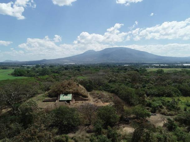 El Salvador's Campana Maya pyramid structure, with the San Salvador volcanic complex in the background.Source: A. Ichikawa / Antiquity Publications Ltd