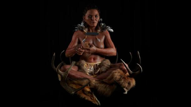 Seated Mesolithic woman was likely a shaman. Source: © Gert Germeraad/Trelleborgs Museum