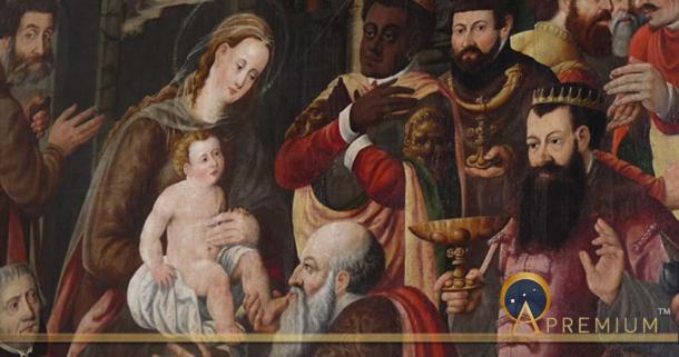 Magi paying homage to Jesus.
