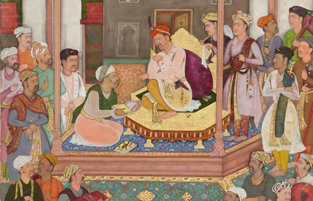 Abu'l-Fazl ibn Mubarak, one of the Navratnas, presenting Emperor Akbar with the Akbarnama. Source: Public domain