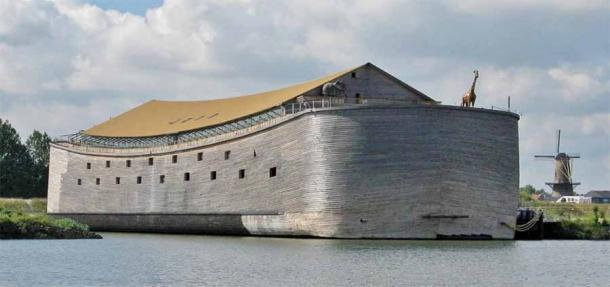 Sir Aad Peter's Dutch Noah's Ark replica is shown here docked in the Netherlands, where it was conceived. But now that the Biblical ship has sailed to the UK it may never return until the paperwork is in order and the hefty daily fines are paid.
