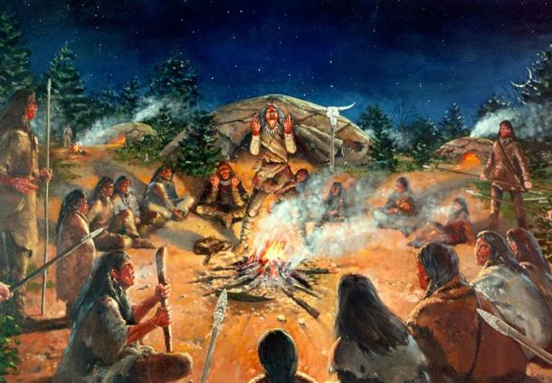 Illustration of a Paleoindian campsite