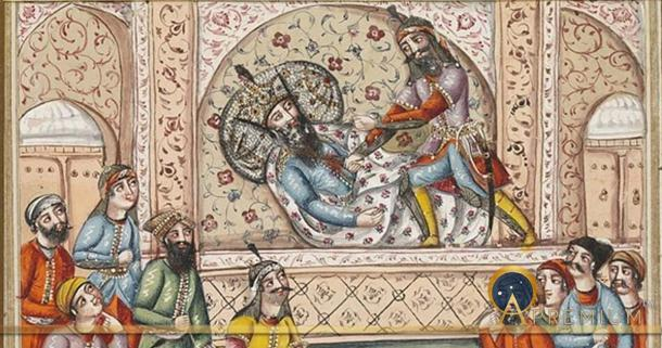 Scene from the Shahnameh. Afrasiyab (standing figure) executes Nauzar (lying down), while two groups look on.