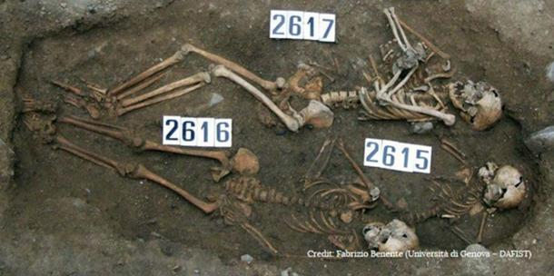 The remains of a mother and fetus were buried alongside those of two other children in the early days of the Black Death in Italy, however researchers cannot say for certain that they died of the plague.