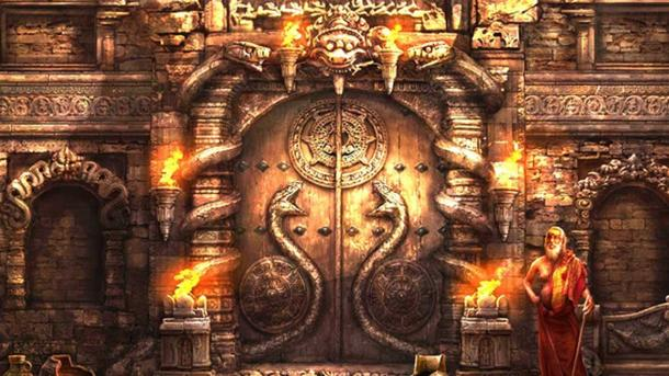 Artist's representation of the sealed door of Vault B at Padmanabhaswamy Temple.