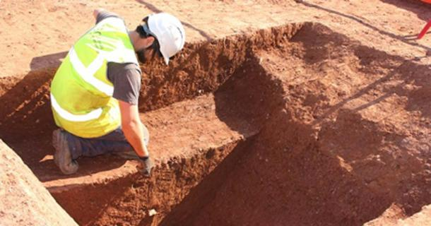 The discovery of the first ditch of the Roman fort. Source: Exeter City Council.