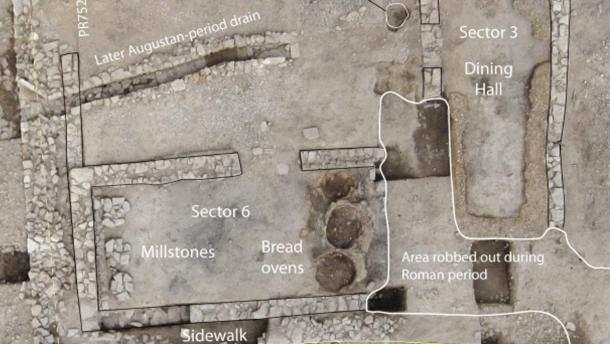 Site of the 2,100-year old Roman tavern, featuring the pits of taboon ovens for bread, a huge dining section to the right, a drainage system and millstones.