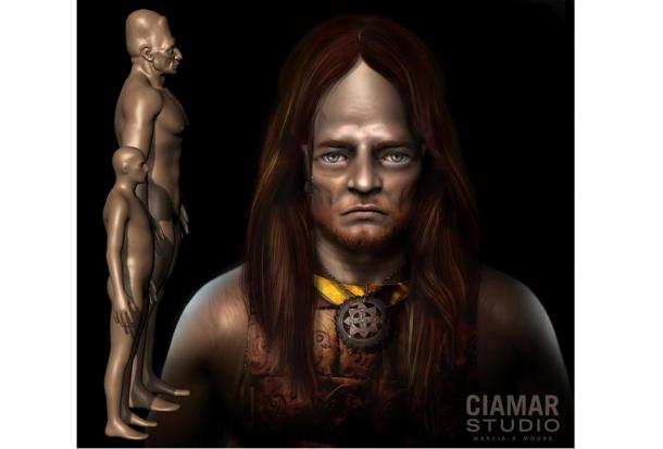 3d Digital Sculpture of Giant with hair, copper breastplate, and gorget. Image courtesy of Marcia K. Moore, Ciamar Studio.