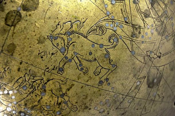 Canis Major as depicted on the Manuchihr Globe made in Mashhad 1632-33 AD. Adilnor Collection, Sweden.