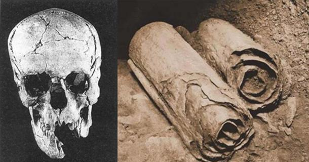 A skull found at Qumran. (Archaeology-of-Qumran/CC BY SA 3.0) Two scrolls from the Dead Sea Scrolls lie at their location in the Qumran Caves before being removed for scholarly examination by archaeologists.