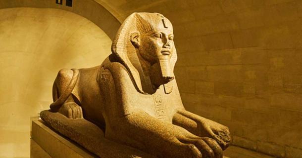 An Egyptian sphinx with a human head